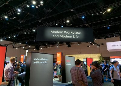 Photograph taken at a conference, with a banner with the text 'Modern Workplace and Modern Life' into view