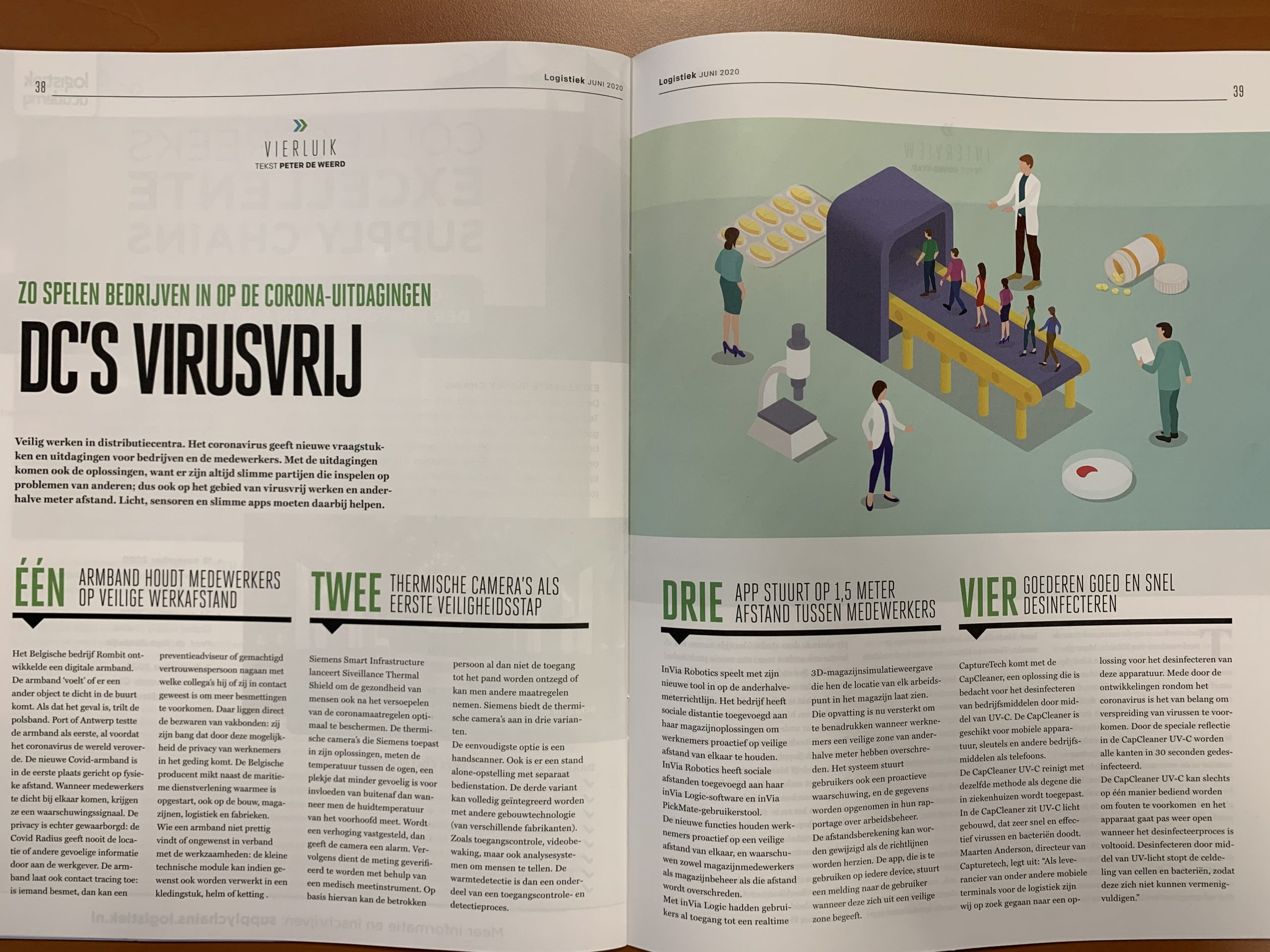 Photograph of an article about safe and hygienic working during this pandemic in Logistics magazine in June 2020