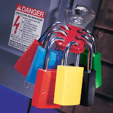 Photograph of six padlocks in the colors red, blue, yellow, green and black.