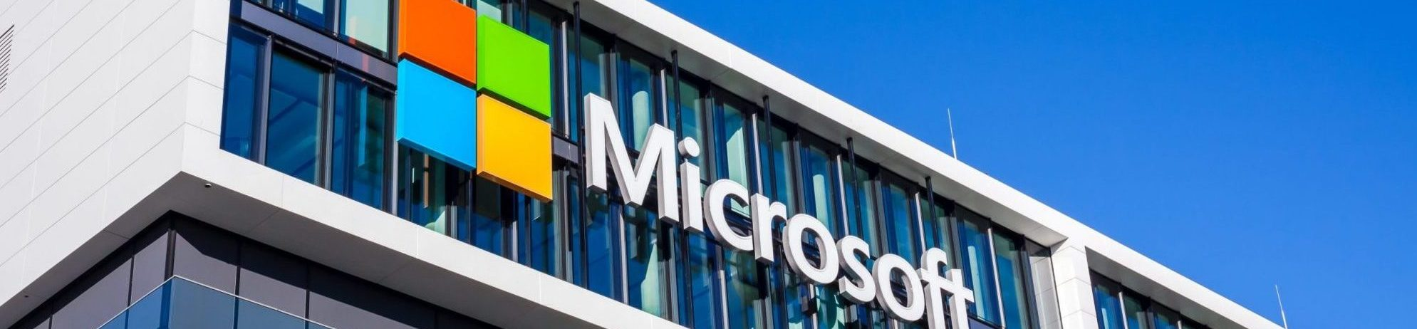 Microsoft logo placed on office in Munich, Germany